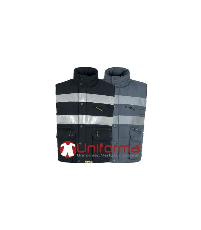 Multiple pockets and windproof quilted vest with reflective tapes.