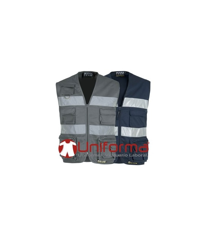 Work vest with reflective tape safari type.