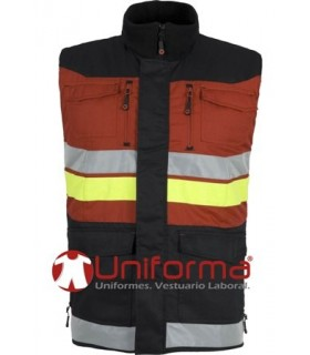 Bicolor Padded vest with reflective tapes.