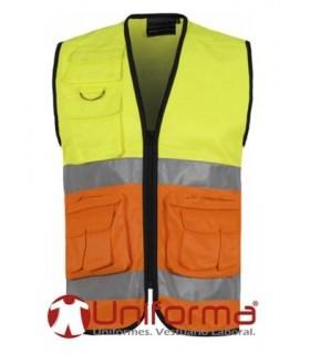 Chaleco Alta visibilidad Naranja y amarillo