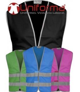 Chalecos de colores con alta visibilidad.