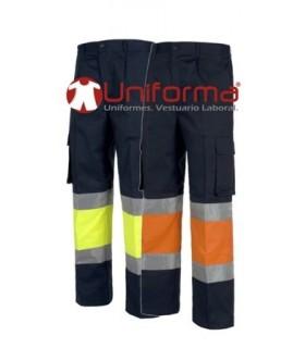 Pantalón de algodón combinado con alta visibilidad.