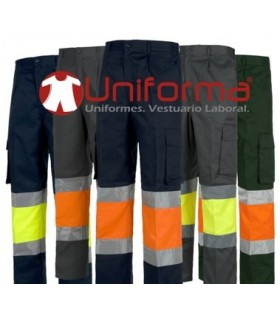 Trousers. Elastic waist, multi pocket, bicolour high visibility