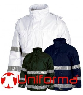 Work Jacket with reflective tapes, hood, multipocket and waterproof.