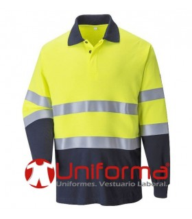 Flame-Resistant Anti-Static Hi-Vis Long sleeve Polo shirt