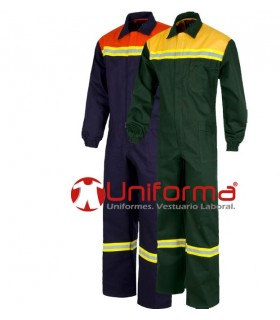Flame retardant overall with reflective tapes work.