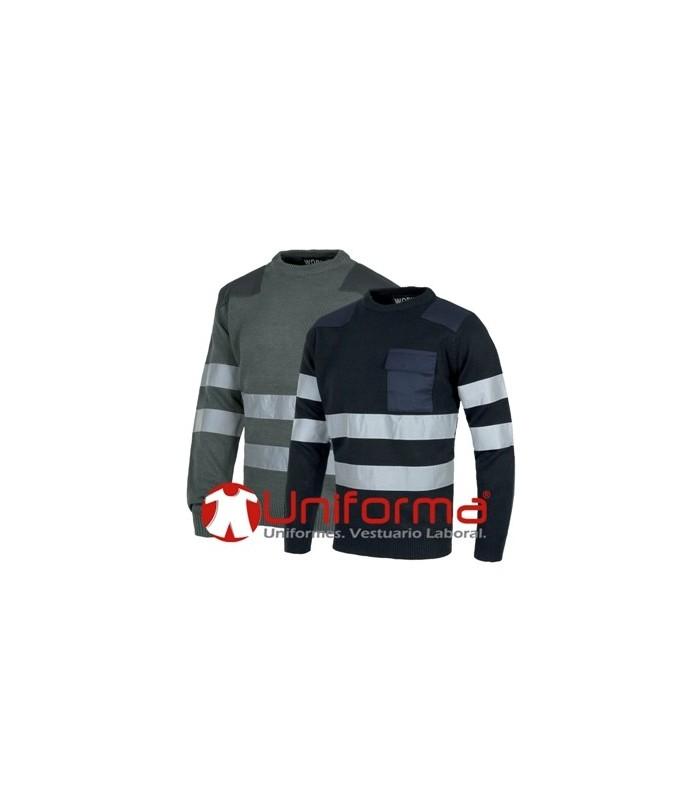 Work sweater with reflective tapes.