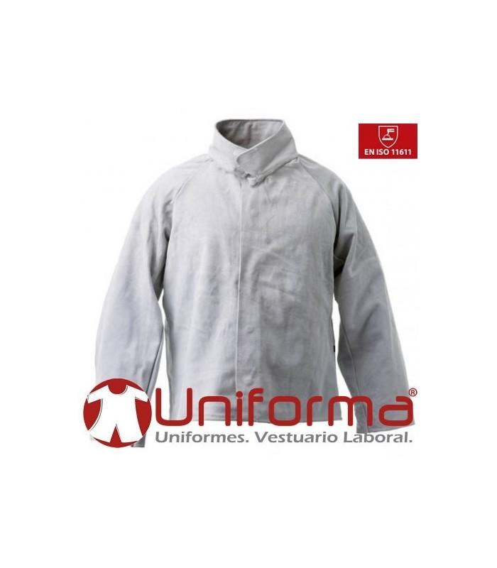 Cazadora para uniformes de soldador en cuero gris en Uniforma.