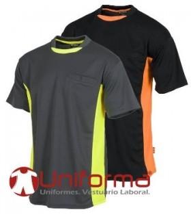 Camiseta técnica transpirable bicolor.