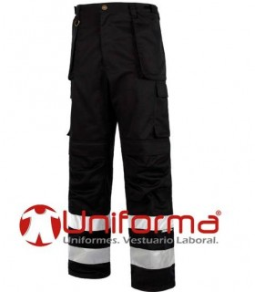 Black Multipocket trousers with reflective tapes.