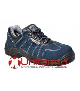 Zapatos de trabajo en piel azul vacuna perforada
