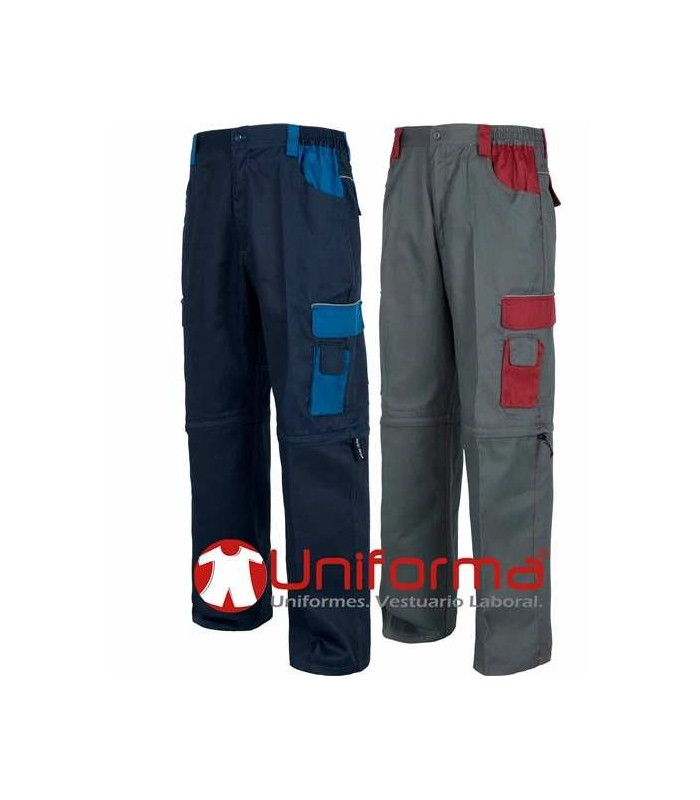 Pantal n de trabajo multibolsillos bicolor con piernas for Pantalones de trabajo multibolsillos