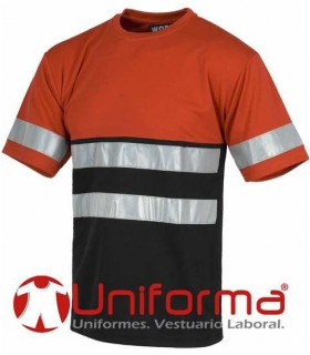 Bicolor T-shirt with reflective strips.