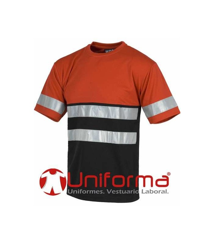 Camiseta de trabajo con bandas reflectantes negra y roja