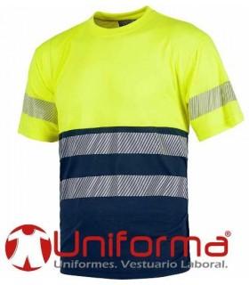 Camiseta de alta visibilidad bicolor con banda discontinua