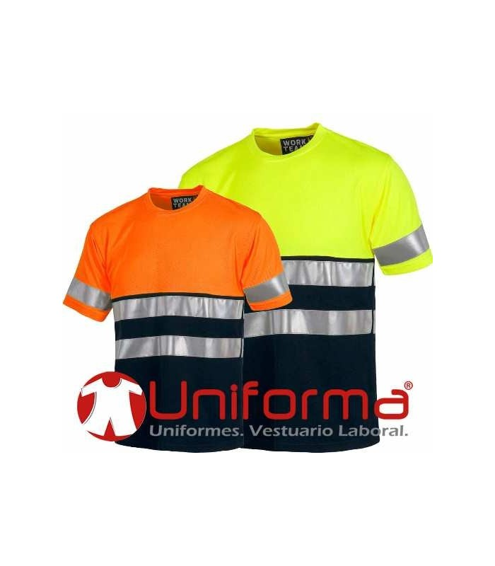 Camiseta bicolor alta visibilidad bandas reflectantes.