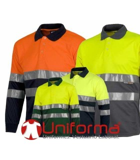 Long Sleeve Polo EN471 high visibility.