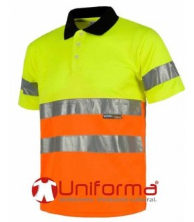 Polo short sleeved, high visibility, bicolour.