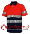 Polo short sleeved, high visibility red, bicolour.
