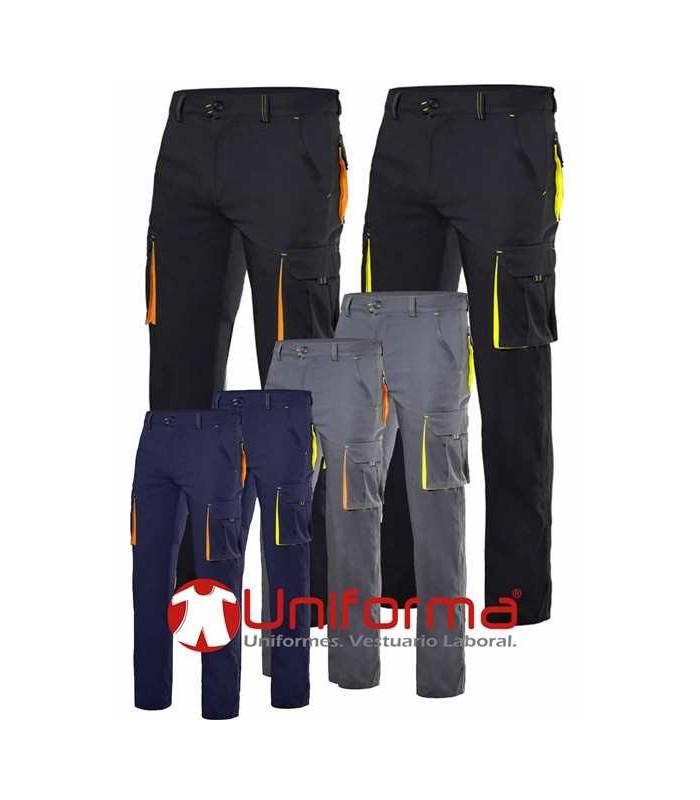 Pantal n de trabajo multibolsillos bicolor con tejido for Pantalones de trabajo multibolsillos