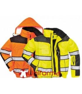Cazadora de trabajo alta visibilidad forro y capucha desmontable
