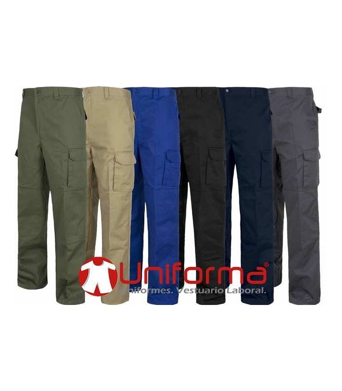 Trousers. Non-elastic waistband, multi pocket, reinforcement on knees and back.