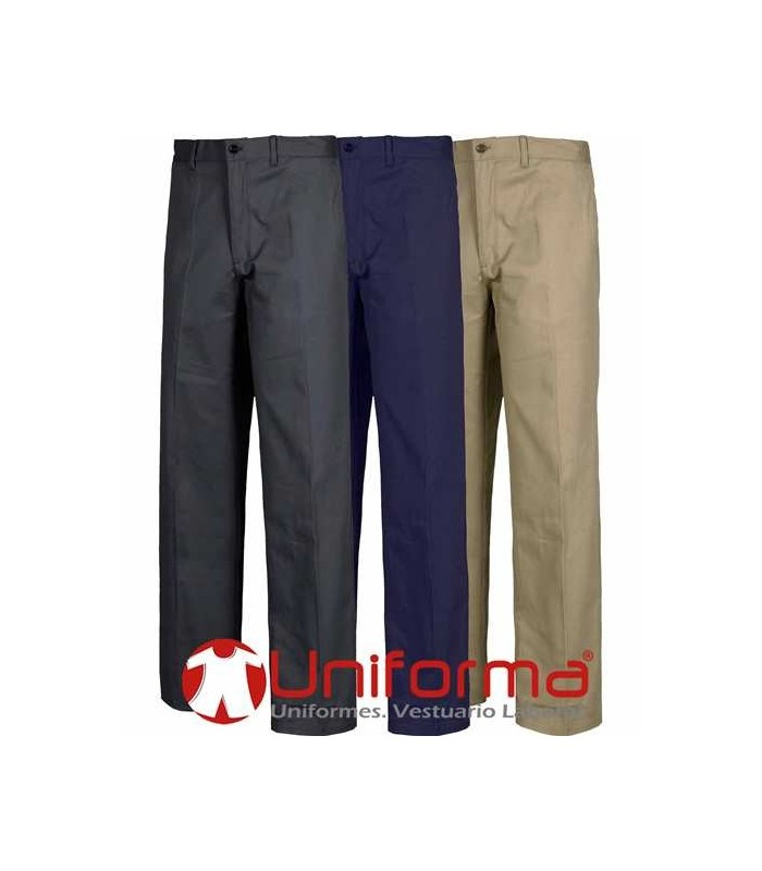 Regular straight fit trousers, Chino style. Elastic waist. Elastic fabric. 98% cotton 2% spandex.