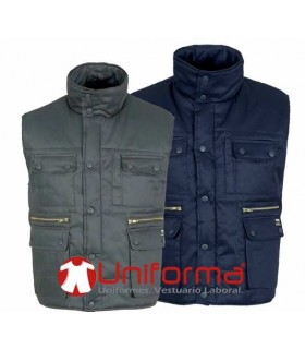 Vest. Padded, metal zips, multi pocket, piece cut-wind on armhole. 100% cotton.