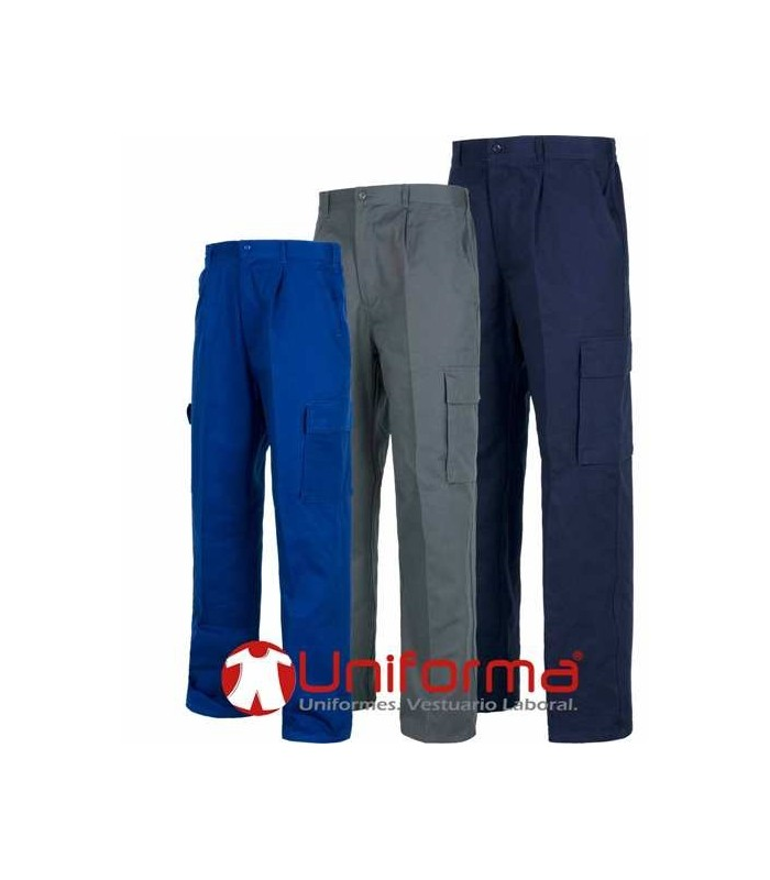 Pantalón de trabajo multibolsillos algodón 100% ligero.
