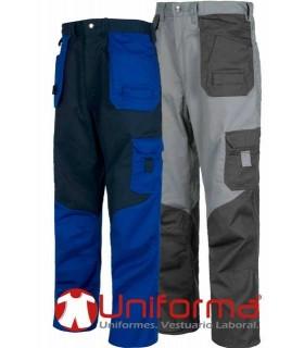 Pantalón bicolor multibolsillos.