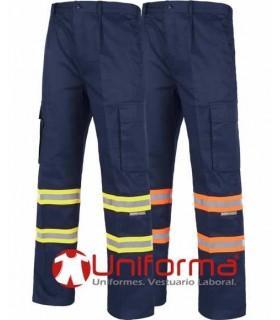 Pantalón de trabajo bandas reflectante de dos colores.