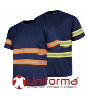 Camisetas marino con bandas reflectantes de dos colores