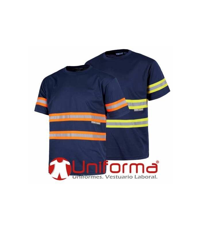 Camiseta marino con bandas reflectantes