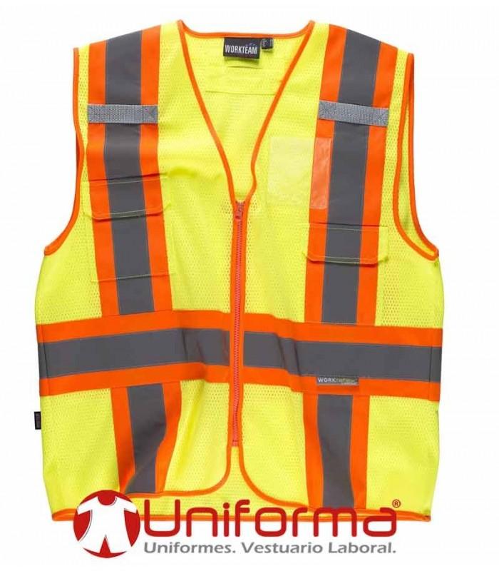 Chaleco de trabajo de rejilla reflectante amarillo bandas noche y dia