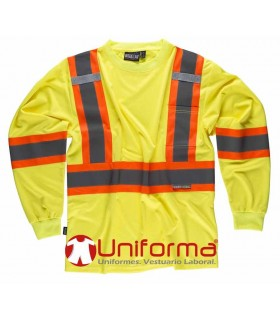 Camiseta de trabajo amarilla de manga larga de alta visibilidad