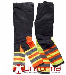Pantalón de trabajo con bandas reflectantes bicolor tipo noche y día reforzado