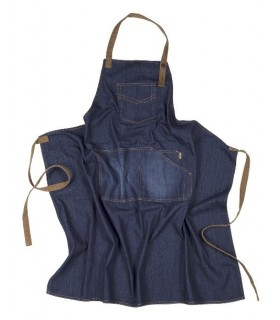 Apron long, denim fabric.
