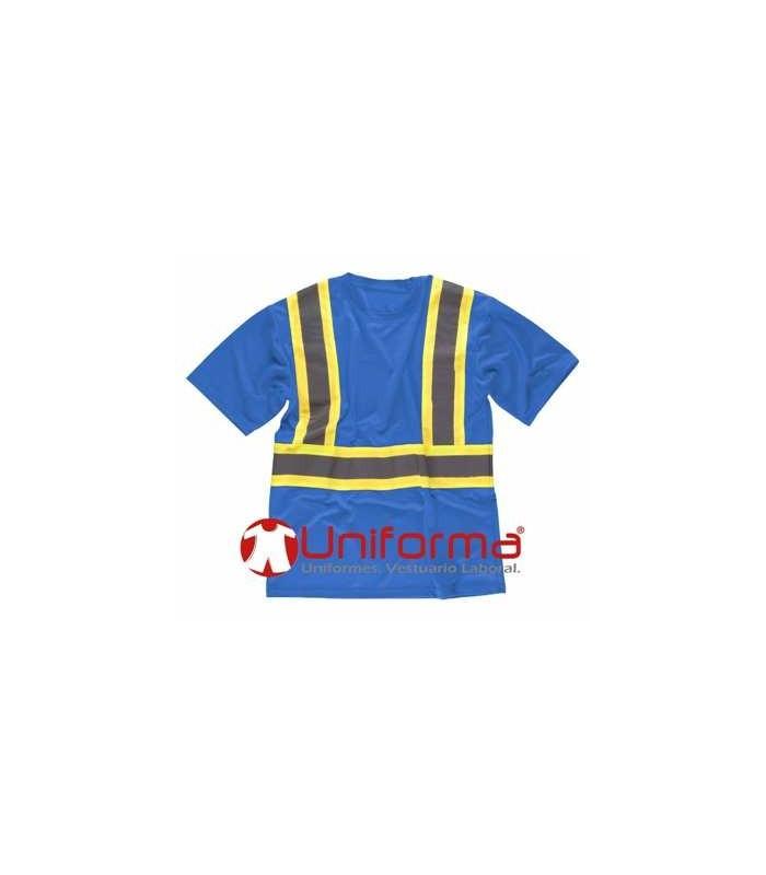 Camiseta azul celeste con bandas reflectantes de noche y día