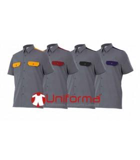 Camisa de trabajo gris con colores a contraste