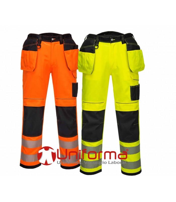 Pantalón de trabajo de alta visibilidad bicolor cintas reflectantes segmentadas