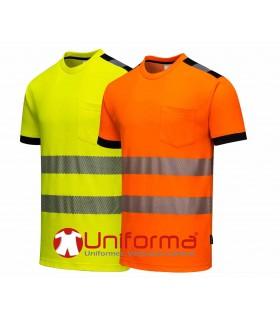 Camiseta naranja algodón alta visibilidad con bandas segmentadas