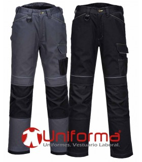 Pantalón trabajo gris Urban multibolsillos reforzado rodilleras
