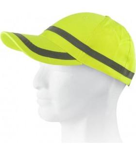 Gorras de alta visibilidad amarilla con bandas reflectantes horizontales