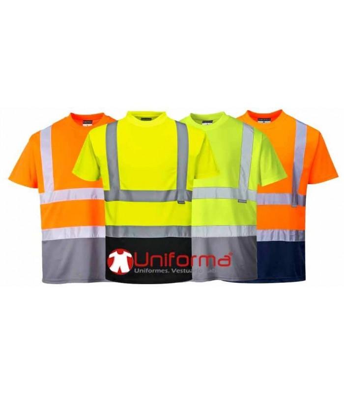 Camiseta reflectante alta visibilidad Bicolor Texpel secado rapido transpirable