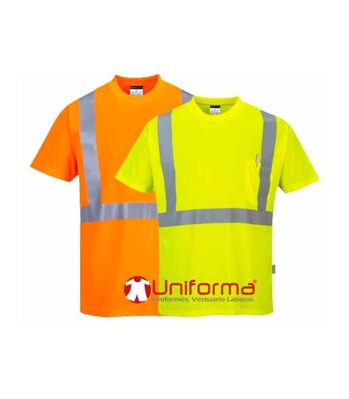 Camiseta trabajo reflectante alta visibilidad con bolsillo