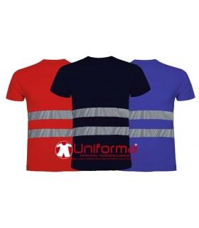 Camiseta de algodón con banda reflectante de alta visibilidad
