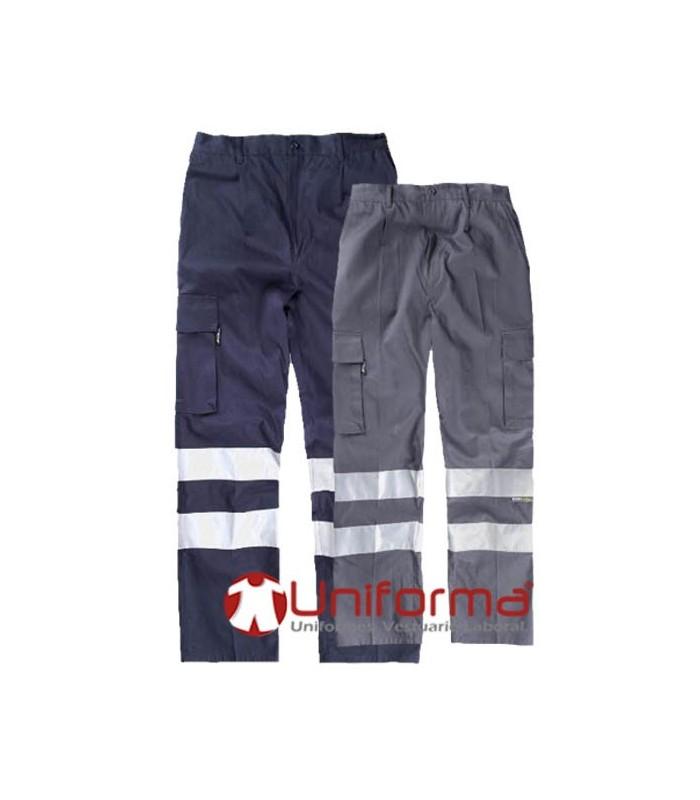Pantalón trabajo multibolsillos Algodón con bandas reflectantes de alta visibilidad
