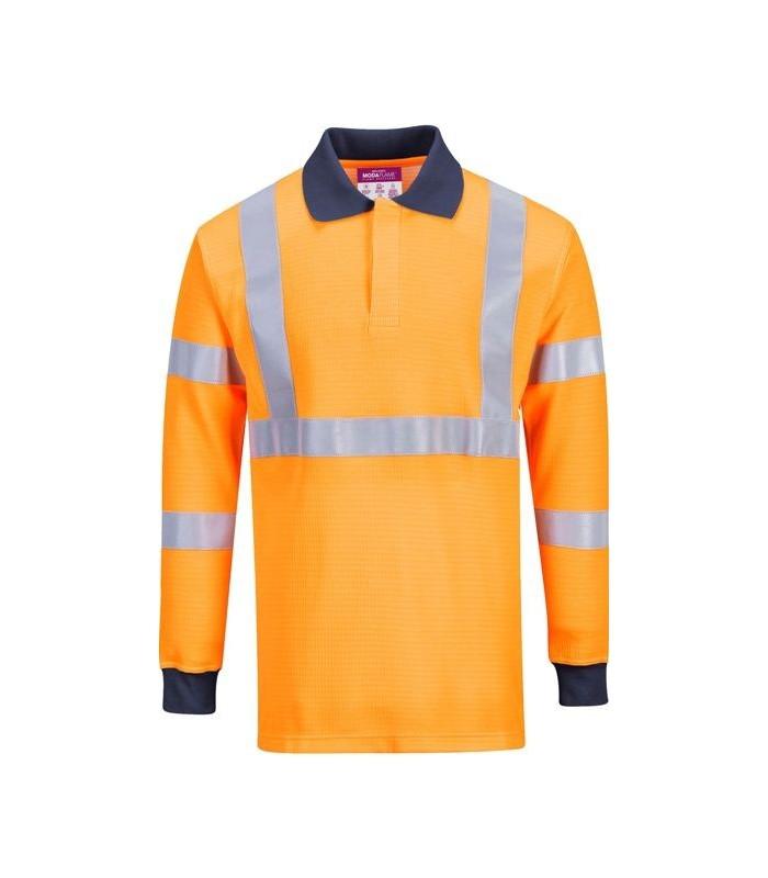 Polo de trabajo ignífugo permanente de color naranja en Uniforma