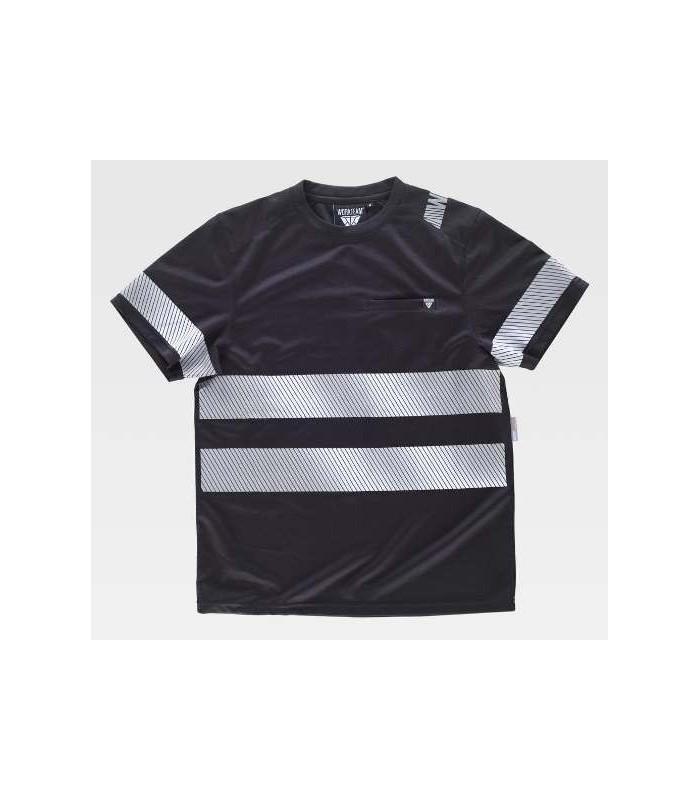 Camiseta de trabajo negra con bandas reflectantes