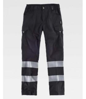 Pantalón de trabajo negro bandas reflectantes segmentadas